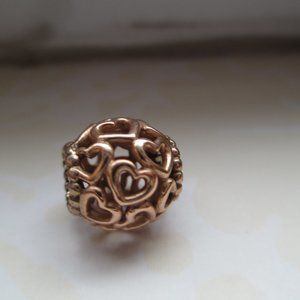 Authentic Pandora Rose Gold Open Hearts Charm